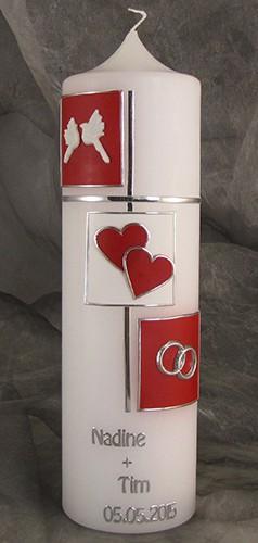 Handverzierte Hochzeitskerze