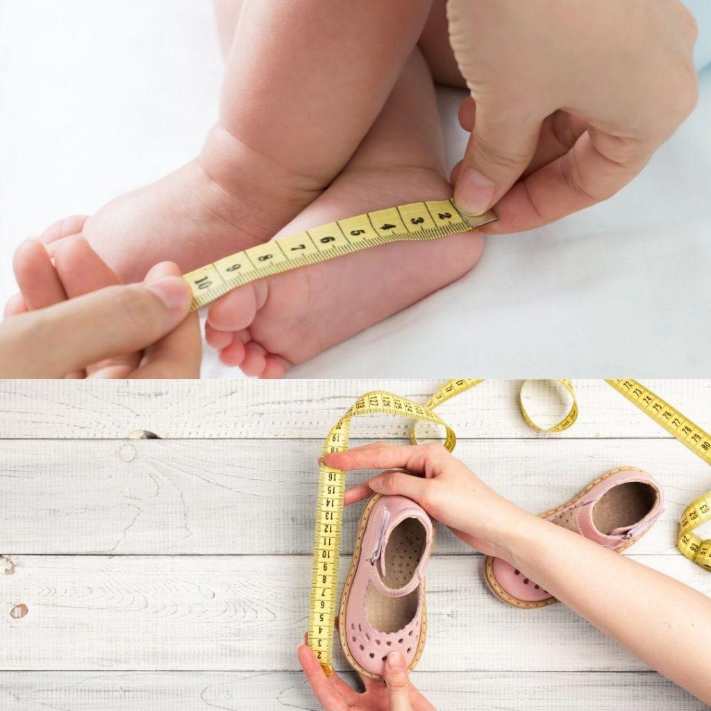 Die richtige Größe für Kleinkinderschuhe bestimmen.